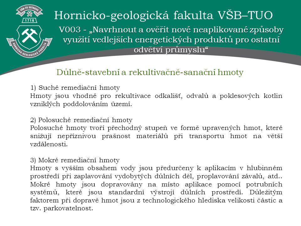 Hornicko-geologická fakulta VŠB–TUO 1) Suché remediační hmoty Hmoty jsou vhodné pro rekultivace odkališť, odvalů a poklesových kotlin vzniklých poddol