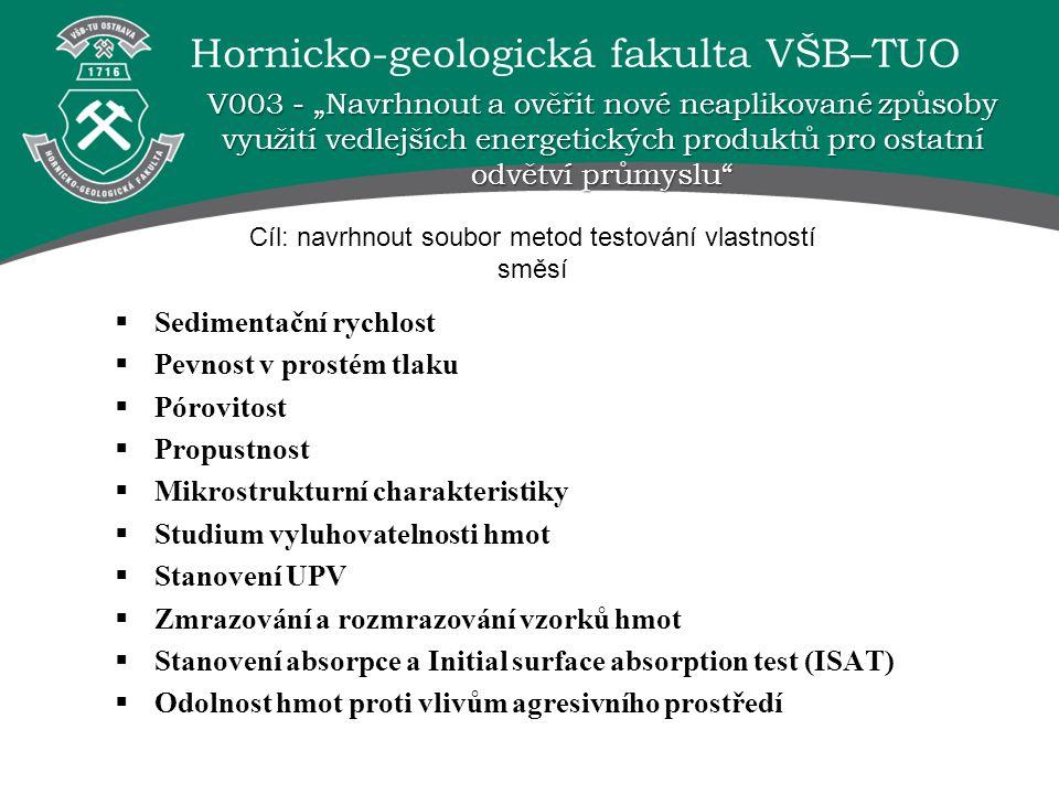 Hornicko-geologická fakulta VŠB–TUO  Sedimentační rychlost  Pevnost v prostém tlaku  Pórovitost  Propustnost  Mikrostrukturní charakteristiky  S