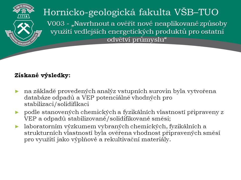 Hornicko-geologická fakulta VŠB–TUO Získané výsledky: ► na základě provedených analýz vstupních surovin byla vytvořena databáze odpadů a VEP potenciál