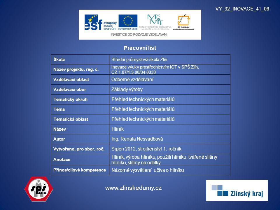 Pracovní list VY_32_INOVACE_41_06 www.zlinskedumy.cz ŠkolaStřední průmyslová škola Zlín Název projektu, reg. č. Inovace výuky prostřednictvím ICT v SP