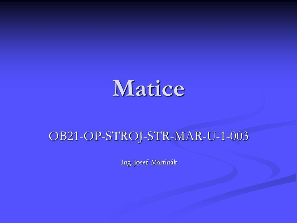 Matice OB21-OP-STROJ-STR-MAR-U-1-003 Ing. Josef Martinák