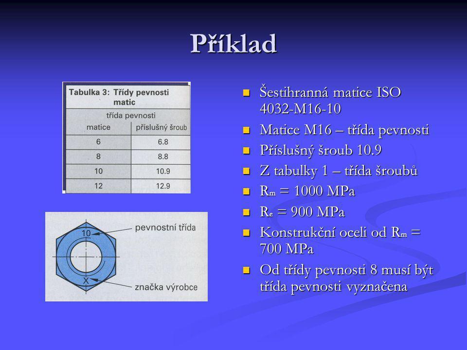 Příklad Šestihranná matice ISO 4032-M16-10 Matice M16 – třída pevnosti Příslušný šroub 10.9 Z tabulky 1 – třída šroubů R m = 1000 MPa R e = 900 MPa Ko