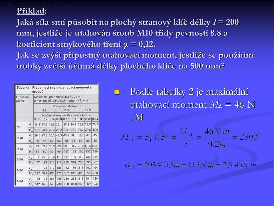 Příklad: Jaká síla smí působit na plochý stranový klíč délky l = 200 mm, jestliže je utahován šroub M10 třídy pevnosti 8.8 a koeficient smykového třen