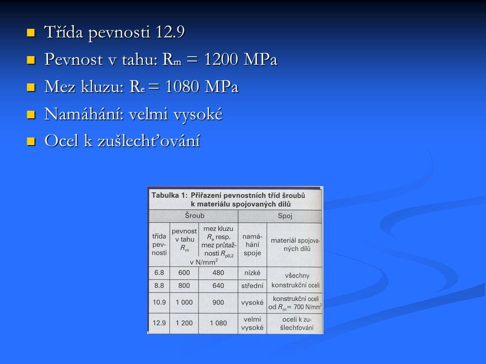Třída pevnosti 12.9 Pevnost v tahu: R m = 1200 MPa Mez kluzu: R e = 1080 MPa Namáhání: velmi vysoké Ocel k zušlechťování