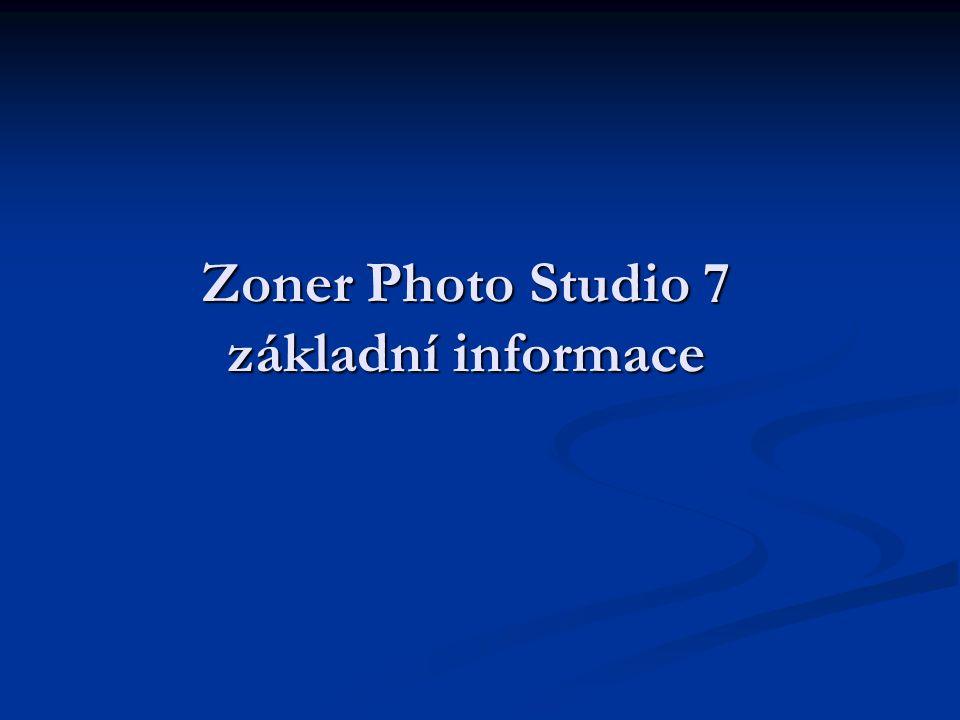 Zoner Photo Studio 7 základní informace