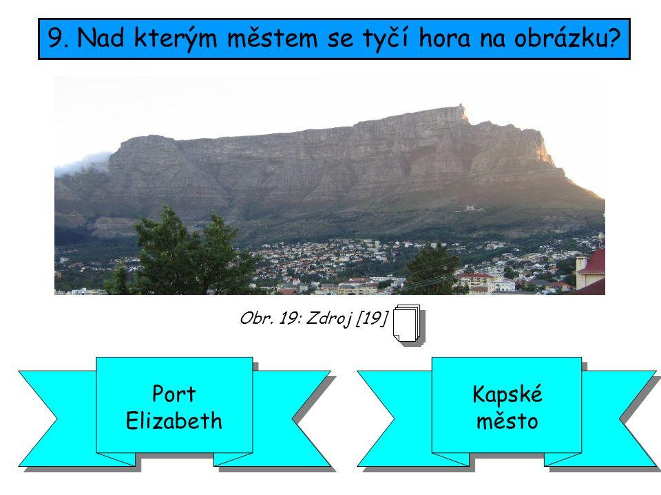 9. Nad kterým městem se tyčí hora na obrázku? Kapské město Port Elizabeth Obr. 19: Zdroj [19]