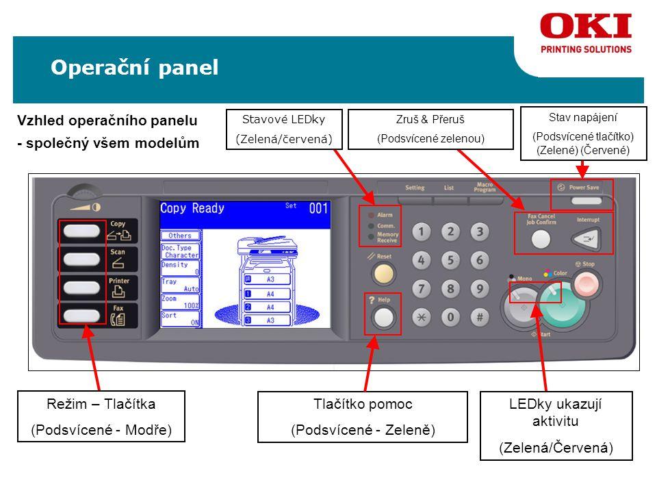 Vzhled operačního panelu - společný všem modelům Režim – Tlačítka (Podsvícené - Modře) Stavové LEDky (Zelená/červená) Tlačítko pomoc (Podsvícené - Zeleně) Operační panel Stav napájení (Podsvícené tlačítko) (Zelené) (Červené) Zruš & Přeruš (Podsvícené zelenou) LEDky ukazují aktivitu (Zelená/Červená)