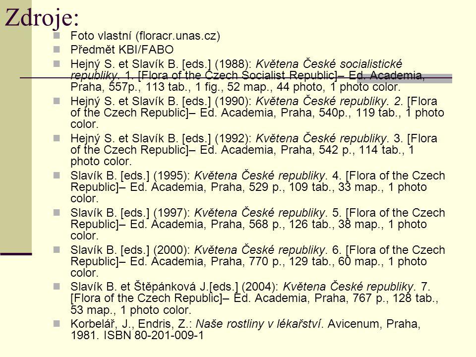Zdroje: Foto vlastní (floracr.unas.cz) Předmět KBI/FABO Hejný S. et Slavík B. [eds.] (1988): Květena České socialistické republiky. 1. [Flora of the C