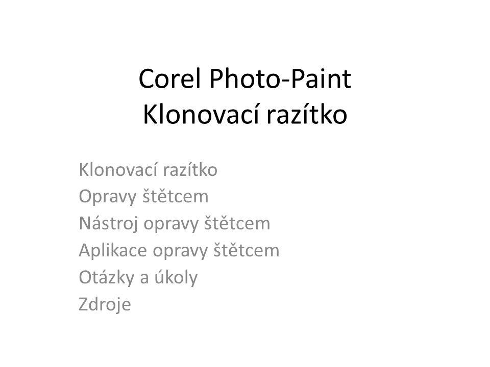 Corel Photo-Paint Klonovací razítko Klonovací razítko Opravy štětcem Nástroj opravy štětcem Aplikace opravy štětcem Otázky a úkoly Zdroje