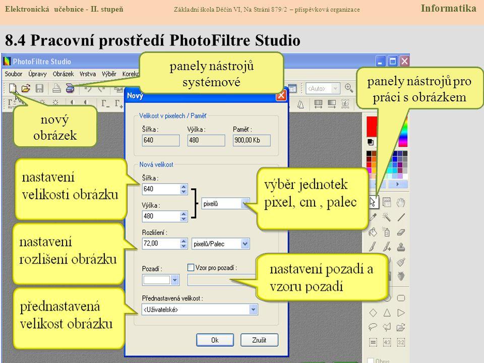 8.3 Photofiltre Studio Elektronická učebnice - II. stupeň Základní škola Děčín VI, Na Stráni 879/2 – příspěvková organizace Informatika  Photofiltre