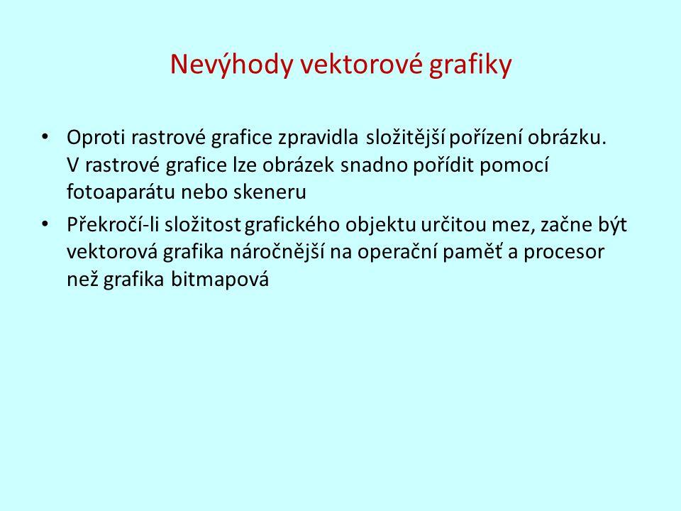 Nevýhody vektorové grafiky Oproti rastrové grafice zpravidla složitější pořízení obrázku. V rastrové grafice lze obrázek snadno pořídit pomocí fotoapa
