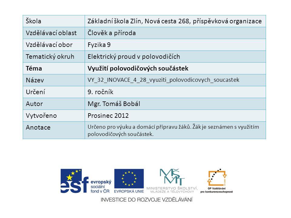 ŠkolaZákladní škola Zlín, Nová cesta 268, příspěvková organizace Vzdělávací oblastČlověk a příroda Vzdělávací oborFyzika 9 Tematický okruhElektrický p