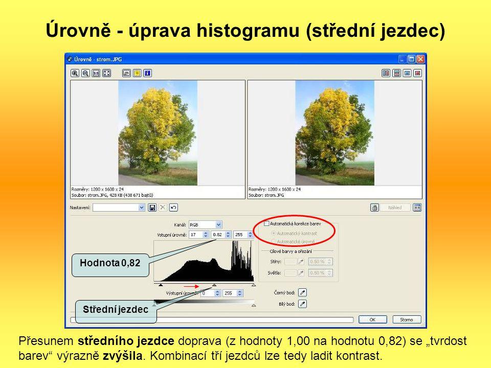 """Úrovně - úprava histogramu (střední jezdec) Přesunem středního jezdce doprava (z hodnoty 1,00 na hodnotu 0,82) se """"tvrdost barev"""" výrazně zvýšila. Kom"""