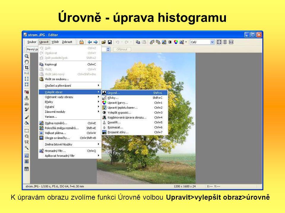 Úrovně - úprava histogramu K úpravám obrazu zvolíme funkci Úrovně volbou Upravit>vylepšit obraz>úrovně