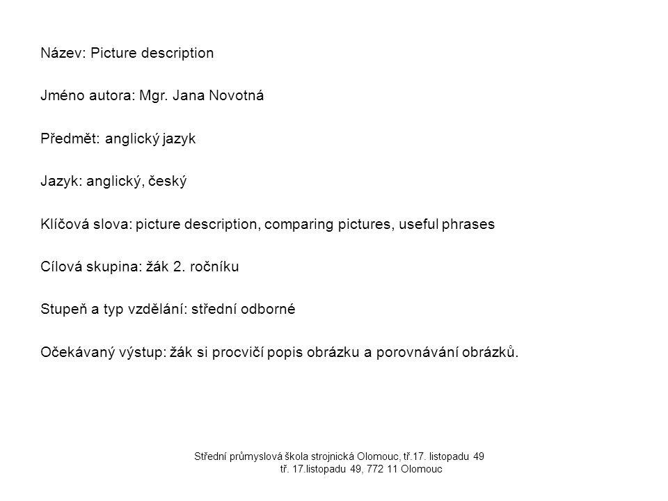 Název: Picture description Jméno autora: Mgr. Jana Novotná Předmět: anglický jazyk Jazyk: anglický, český Klíčová slova: picture description, comparin
