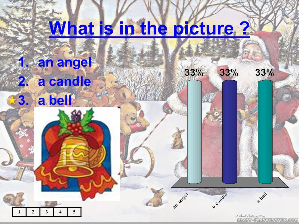 What is in the picture 12345 1.an angel 2.a candle 3.a bell