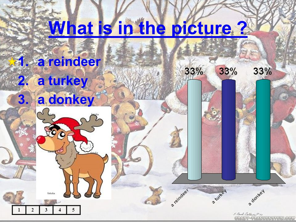 What is in the picture 12345 1.a reindeer 2.a turkey 3.a donkey