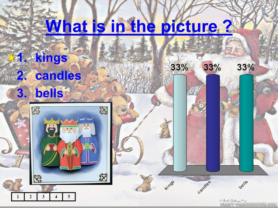 What is in the picture ? 12345 1.kings 2.candles 3.bells