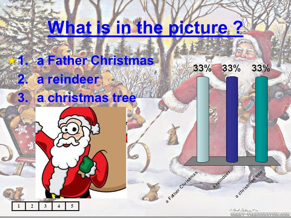 What is in the picture ? 12345 1.a candle 2.a present 3.a christmas card