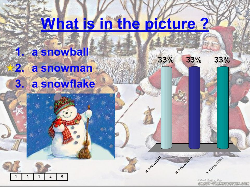 What is in the picture 12345 1.a snowball 2.a snowman 3.a snowflake