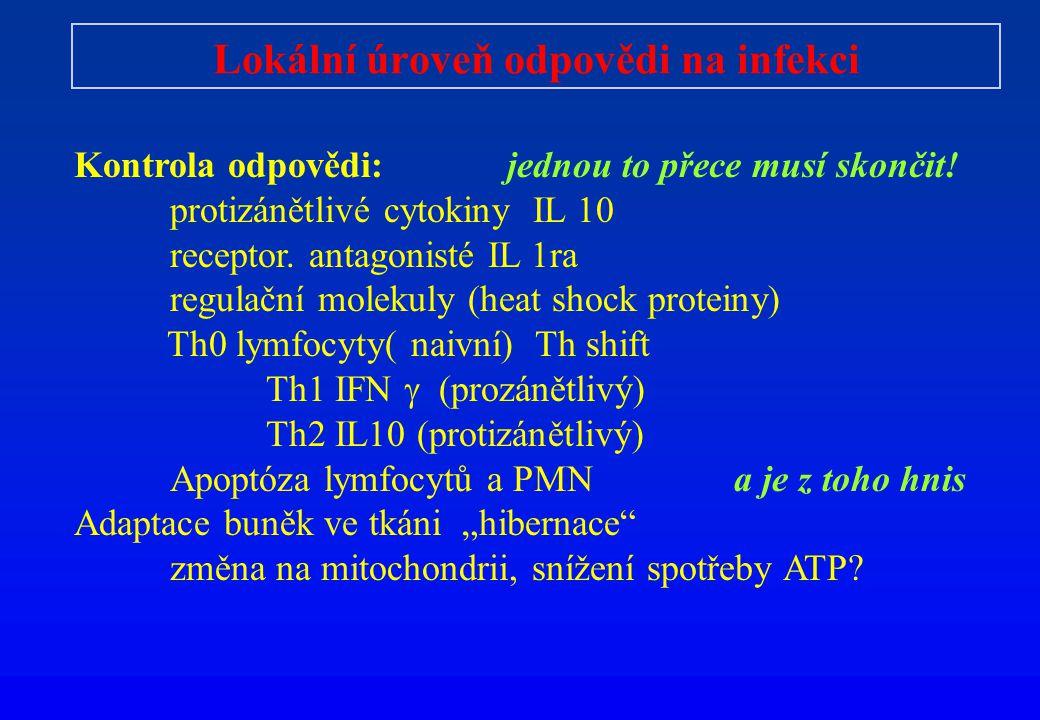 Lokální úroveň odpovědi na infekci Kontrola odpovědi: jednou to přece musí skončit! protizánětlivé cytokiny IL 10 receptor. antagonisté IL 1ra regulač