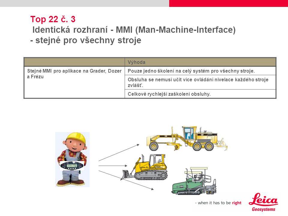 Top 22 č. 3 Identická rozhraní - MMI (Man-Machine-Interface) - stejné pro všechny stroje Výhoda Stejné MMI pro aplikace na Grader, Dozer a Frézu Pouze