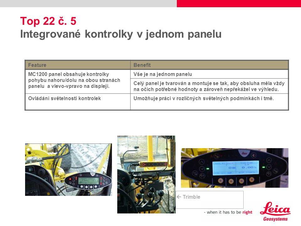 Top 22 č. 5 Integrované kontrolky v jednom panelu FeatureBenefit MC1200 panel obsahuje kontrolky pohybu nahoru/dolu na obou stranách panelu a vlevo-vp