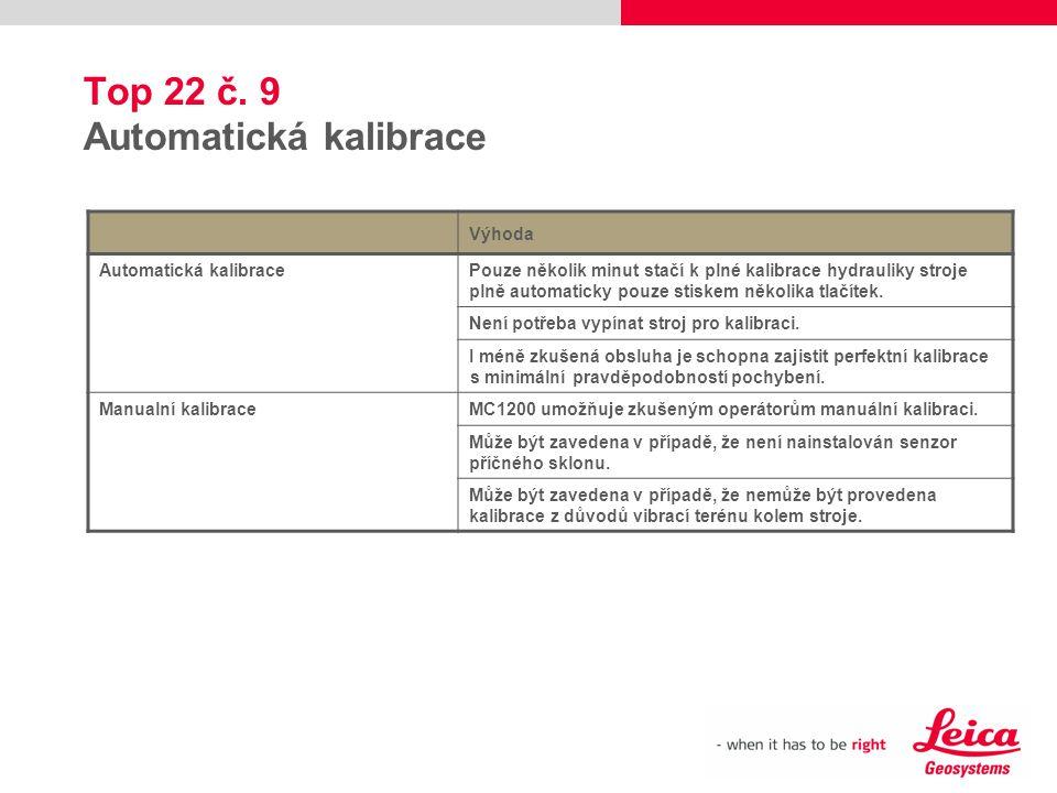 Top 22 č. 9 Automatická kalibrace Výhoda Automatická kalibracePouze několik minut stačí k plné kalibrace hydrauliky stroje plně automaticky pouze stis