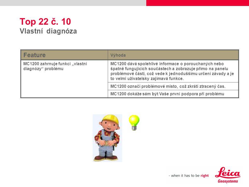 """Top 22 č. 10 Vlastní diagnóza Feature Výhoda MC1200 zahrnuje funkci """"vlastní diagnózy"""" problému MC1200 dává spolehlivé informace o porouchaných nebo š"""