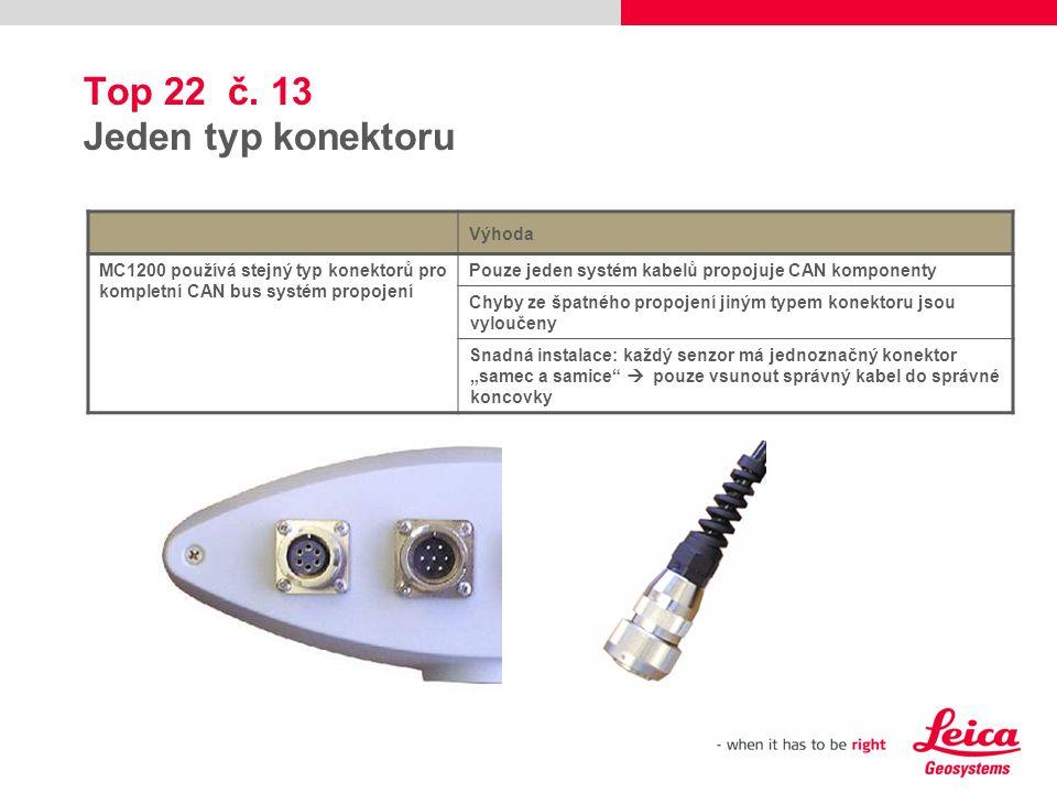 Top 22 č. 13 Jeden typ konektoru Výhoda MC1200 používá stejný typ konektorů pro kompletní CAN bus systém propojení Pouze jeden systém kabelů propojuje