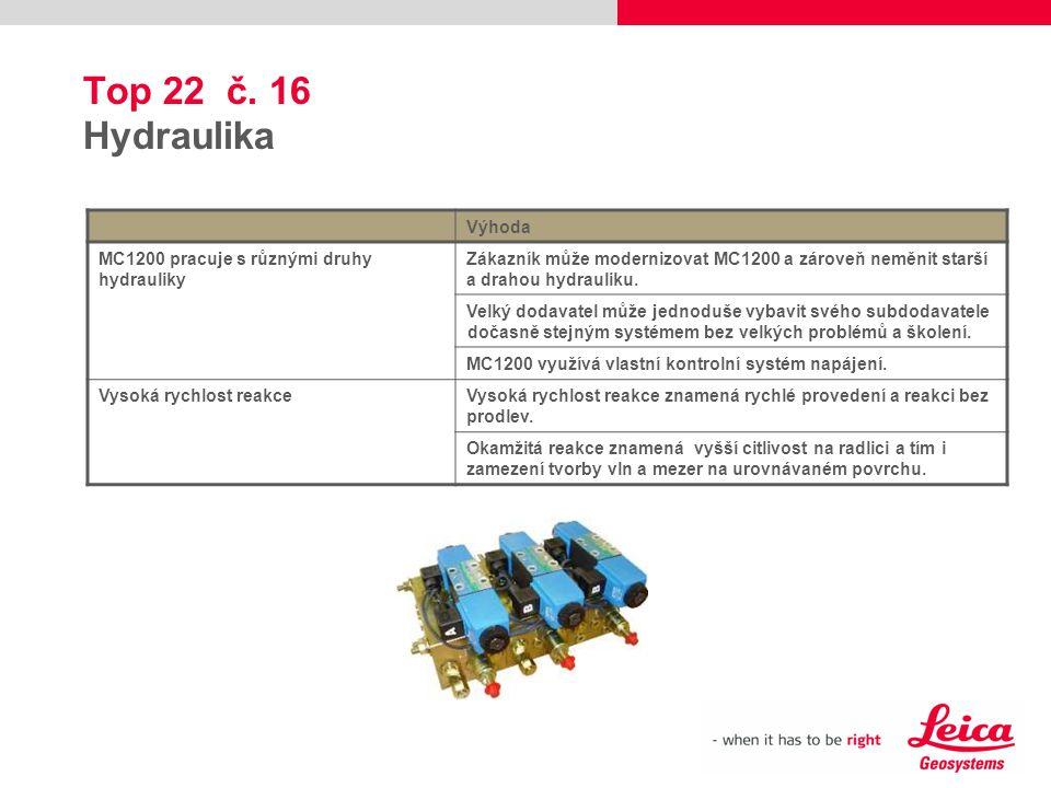 Top 22 č. 16 Hydraulika Výhoda MC1200 pracuje s různými druhy hydrauliky Zákazník může modernizovat MC1200 a zároveň neměnit starší a drahou hydraulik