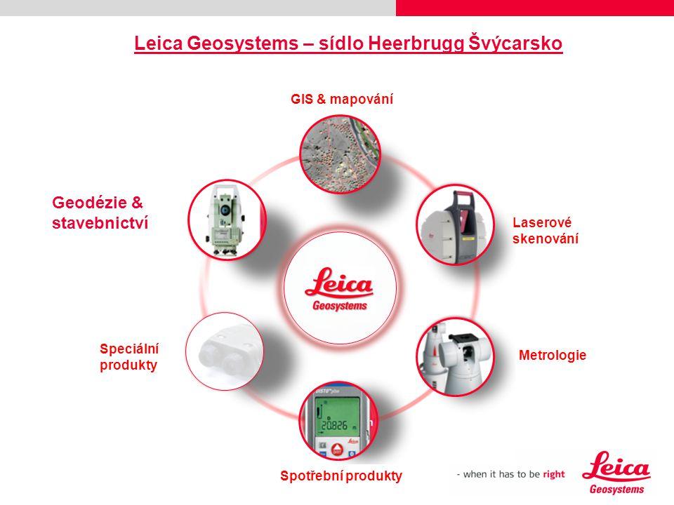 GIS & mapování Laserové skenování Metrologie Spotřební produkty Geodézie & stavebnictví Speciální produkty Leica Geosystems – sídlo Heerbrugg Švýcarsk