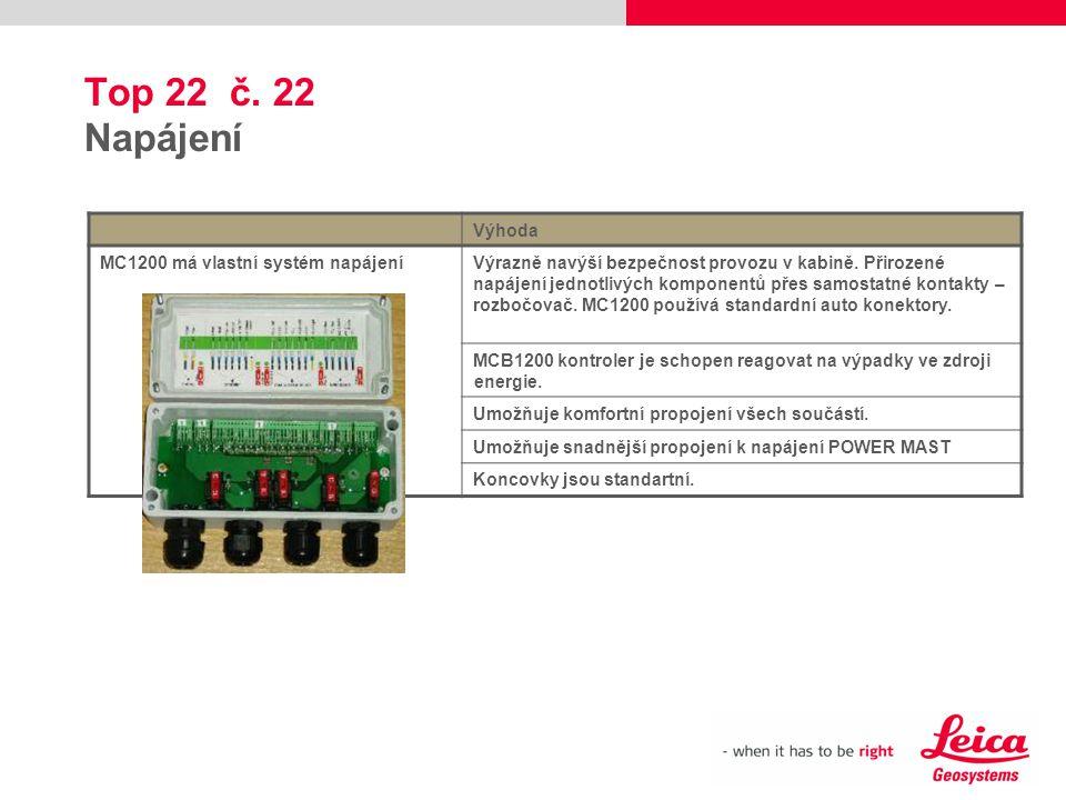 Top 22 č. 22 Napájení Výhoda MC1200 má vlastní systém napájeníVýrazně navýší bezpečnost provozu v kabině. Přirozené napájení jednotlivých komponentů p