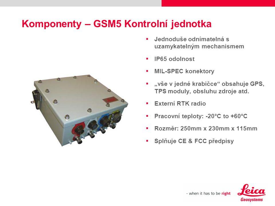 """Komponenty – GSM5 Kontrolní jednotka  Jednoduše odnímatelná s uzamykatelným mechanismem  IP65 odolnost  MIL-SPEC konektory  """"vše v jedné krabičce"""""""