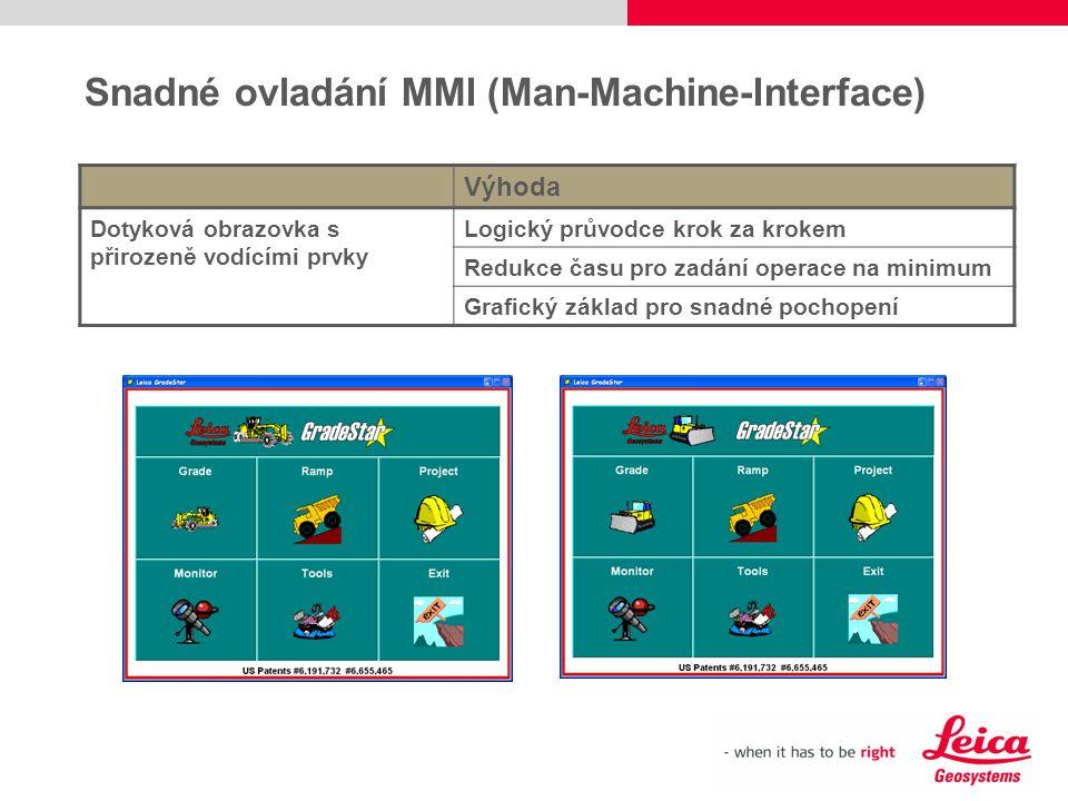 Snadné ovladání MMI (Man-Machine-Interface) Výhoda Dotyková obrazovka s přirozeně vodícími prvky Logický průvodce krok za krokem Redukce času pro zadá