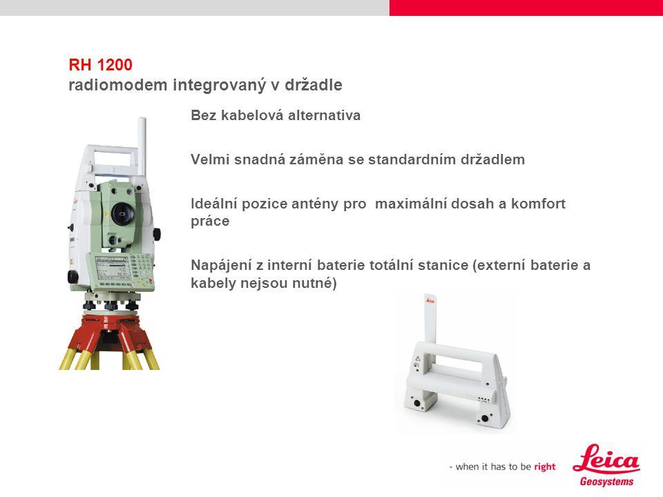 RH 1200 radiomodem integrovaný v držadle Bez kabelová alternativa Velmi snadná záměna se standardním držadlem Ideální pozice antény pro maximální dosa