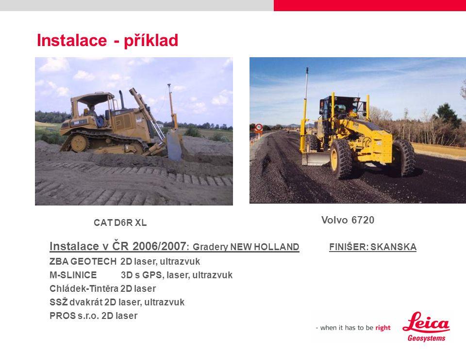 Instalace - příklad CAT D6R XL Volvo 6720 Instalace v ČR 2006/2007 : Gradery NEW HOLLANDFINIŠER: SKANSKA ZBA GEOTECH 2D laser, ultrazvuk M-SLINICE 3D