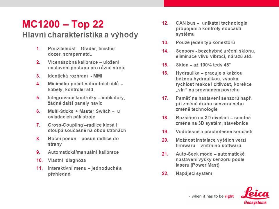 MC1200 – Top 22 Hlavní charakteristika a výhody 1.Použitelnost – Grader, finisher, dozer, scraperr atd.. 2.Vícenásobná kalibrace – uložení nastavení p