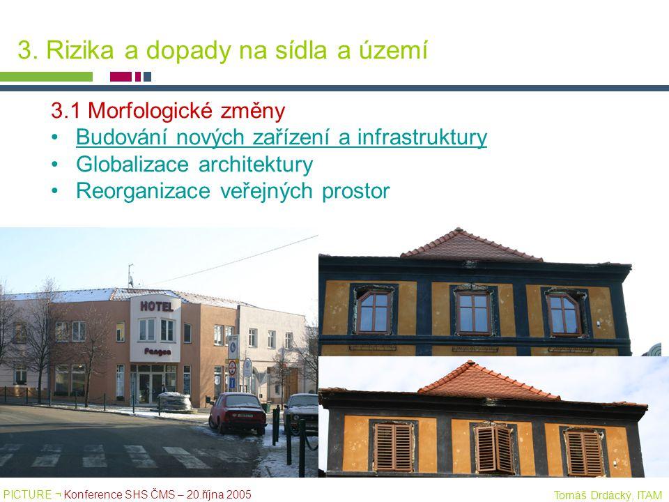 PICTURE ¬ Konference SHS ČMS – 20.října 2005 Tomáš Drdácký, ITAM 3. Rizika a dopady na sídla a území 3.1 Morfologické změny Budování nových zařízení a