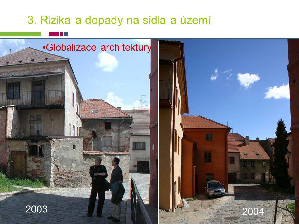 PICTURE ¬ Konference SHS ČMS – 20.října 2005 Tomáš Drdácký, ITAM 2003 2004 3. Rizika a dopady na sídla a území Globalizace architektury