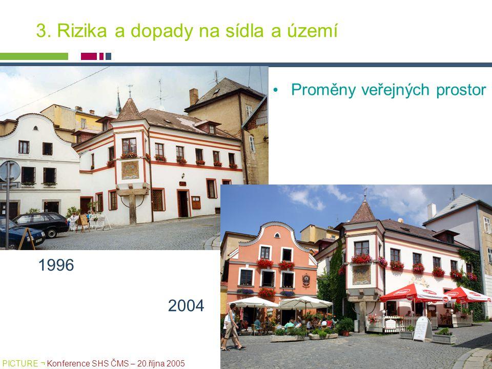 PICTURE ¬ Konference SHS ČMS – 20.října 2005 Tomáš Drdácký, ITAM 3. Rizika a dopady na sídla a území Proměny veřejných prostor 1996 2004