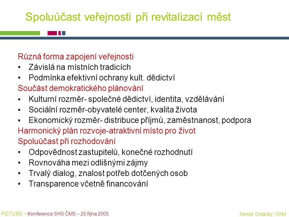 PICTURE ¬ Konference SHS ČMS – 20.října 2005 Tomáš Drdácký, ITAM Spoluúčast veřejnosti při revitalizaci měst Různá forma zapojení veřejnosti Závislá n
