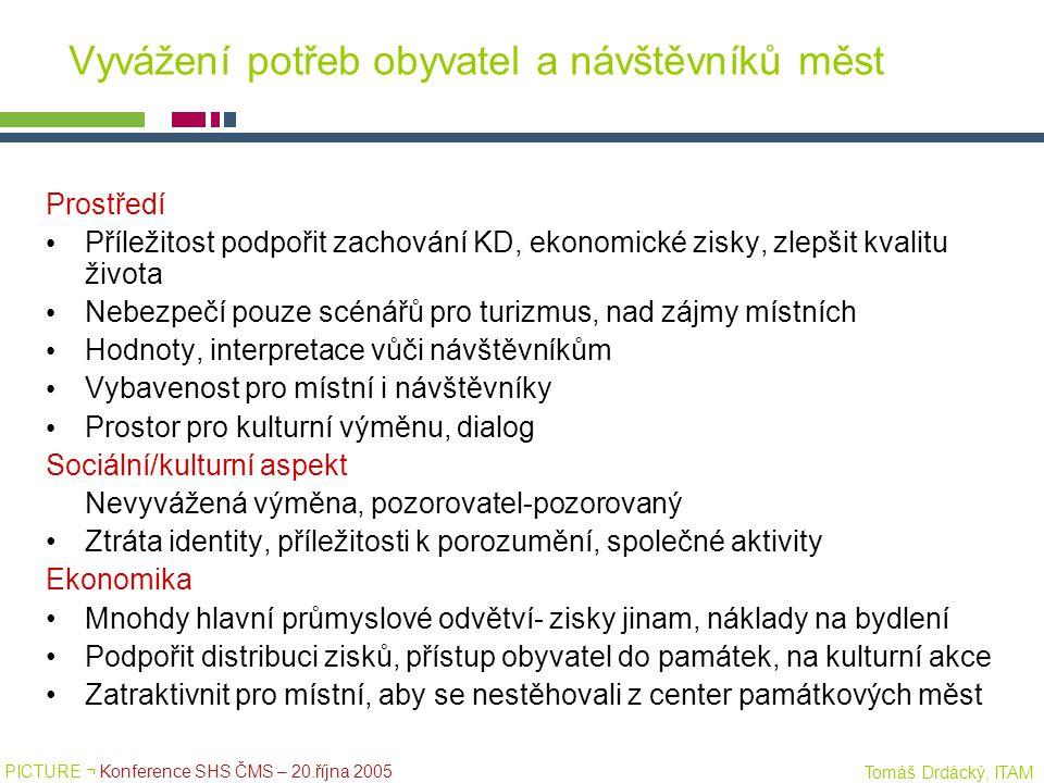 PICTURE ¬ Konference SHS ČMS – 20.října 2005 Tomáš Drdácký, ITAM Vyvážení potřeb obyvatel a návštěvníků měst Prostředí Příležitost podpořit zachování