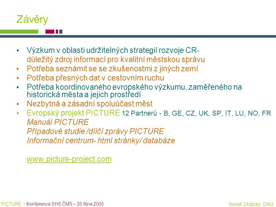 PICTURE ¬ Konference SHS ČMS – 20.října 2005 Tomáš Drdácký, ITAM Závěry Výzkum v oblasti udržitelných strategií rozvoje CR- důležitý zdroj informací p