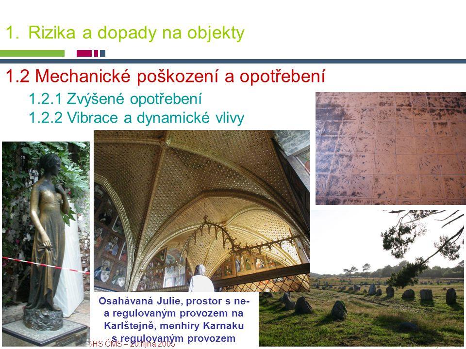 PICTURE ¬ Konference SHS ČMS – 20.října 2005 Tomáš Drdácký, ITAM 1.Rizika a dopady na objekty 1.2 Mechanické poškození a opotřebení 1.2.1 Zvýšené opot