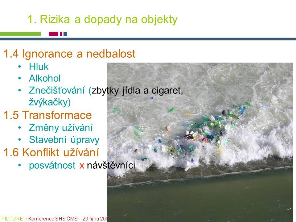 PICTURE ¬ Konference SHS ČMS – 20.října 2005 Tomáš Drdácký, ITAM 1.4 Ignorance a nedbalost Hluk Alkohol Znečišťování (zbytky jídla a cigaret, žvýkačky