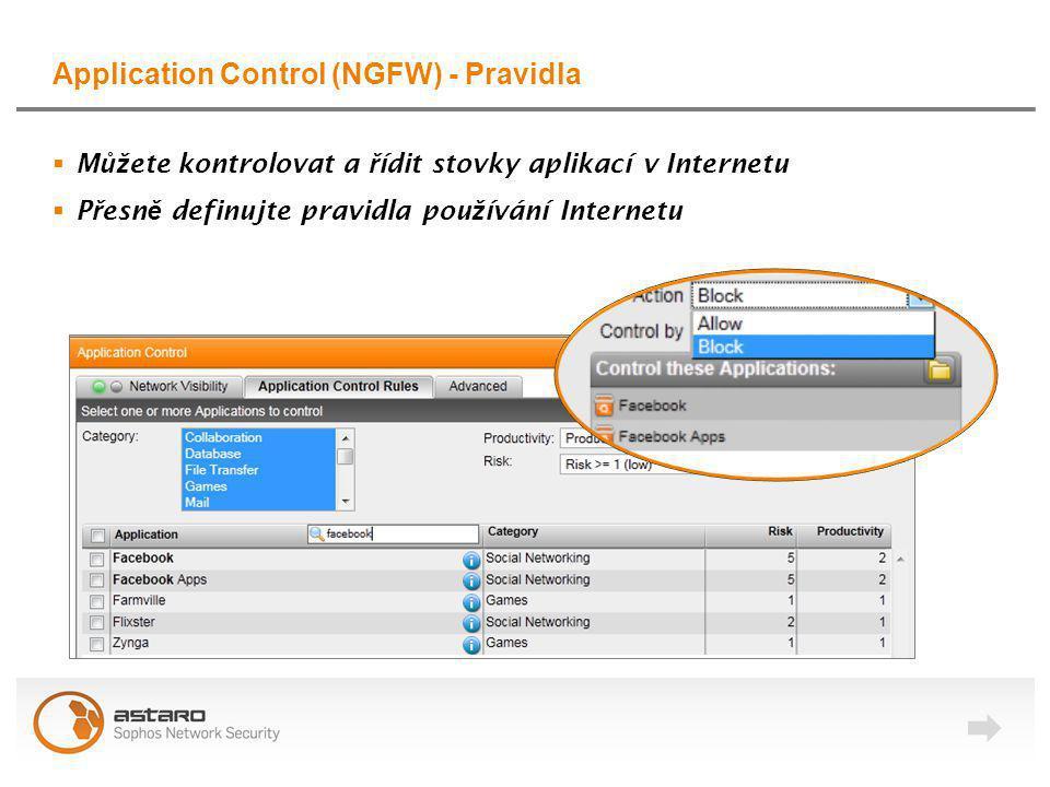 Application Control (NGFW) - Pravidla  M ůž ete kontrolovat a ř ídit stovky aplikací v Internetu  P ř esn ě definujte pravidla pou ž ívání Internetu