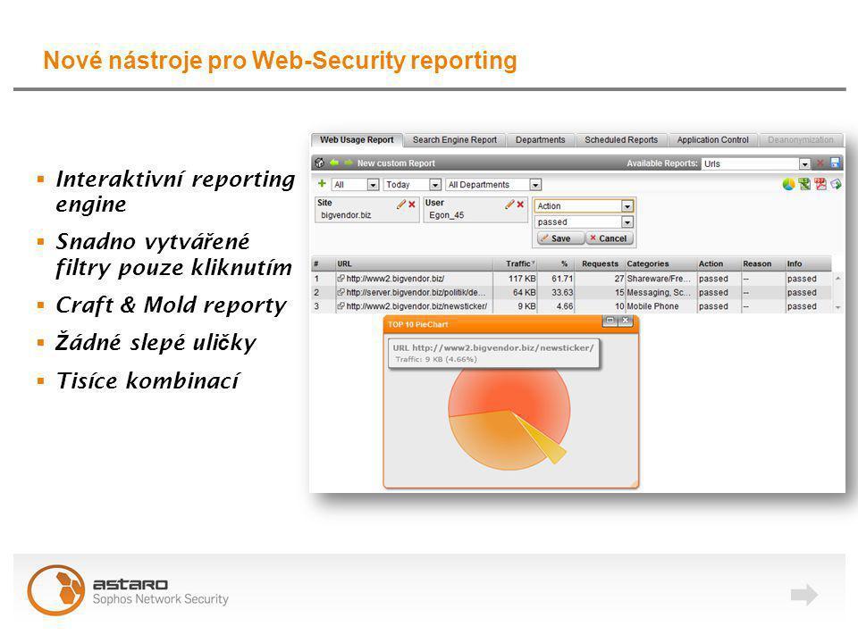 Nové nástroje pro Web-Security reporting  Interaktivní reporting engine  Snadno vytvá ř ené filtry pouze kliknutím  Craft & Mold reporty  Ž ádné slepé uli č ky  Tisíce kombinací