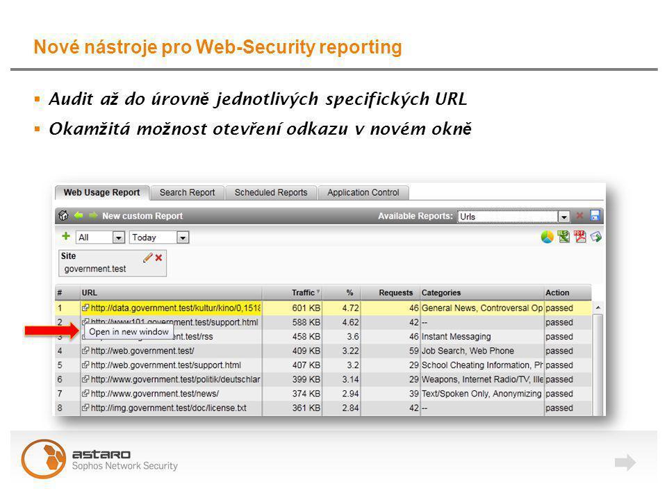 Nové nástroje pro Web-Security reporting  Audit a ž do úrovn ě jednotlivých specifických URL  Okam ž itá mo ž nost otev ř ení odkazu v novém okn ě