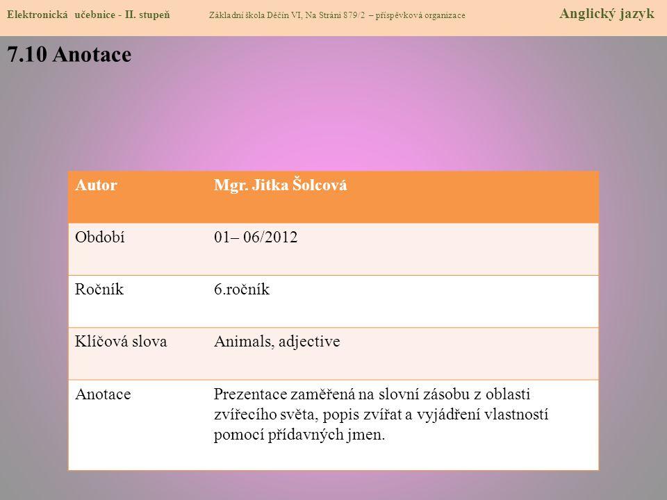 7.10 Anotace Elektronická učebnice - II.